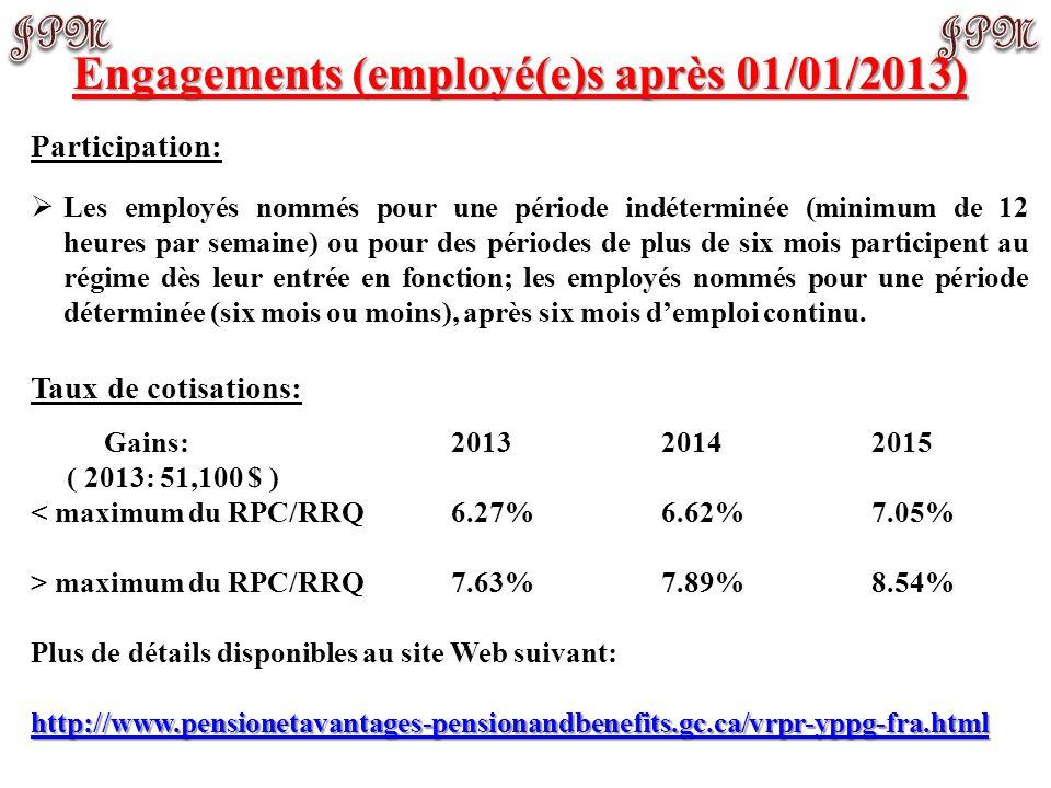 Engagements (employé(e)s après 01/01/2013)