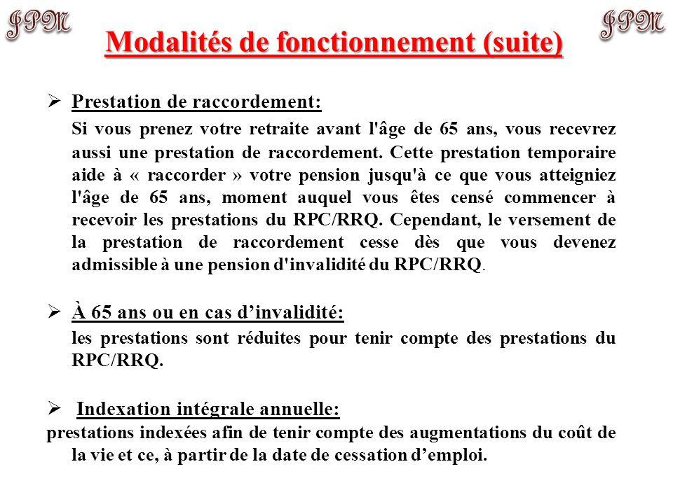 Modalités de fonctionnement (suite)
