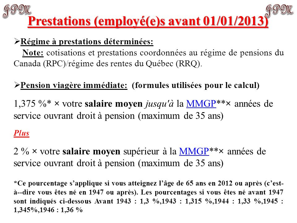 Prestations (employé(e)s avant 01/01/2013)