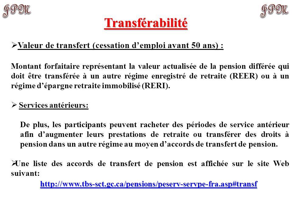 Transférabilité Valeur de transfert (cessation d'emploi avant 50 ans) :