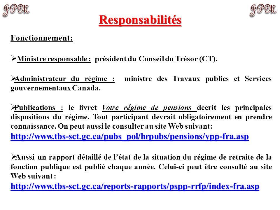 Responsabilités Fonctionnement: Ministre responsable : président du Conseil du Trésor (CT).