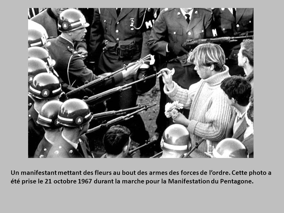 Un manifestant mettant des fleurs au bout des armes des forces de l'ordre.