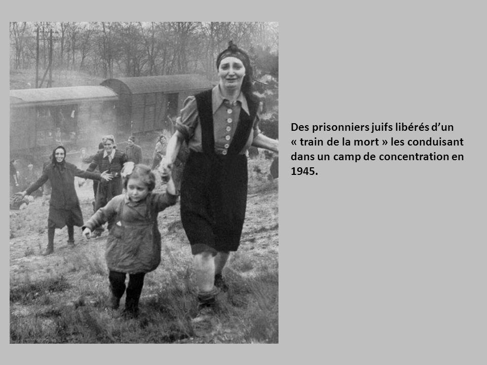 Des prisonniers juifs libérés d'un « train de la mort » les conduisant dans un camp de concentration en 1945.