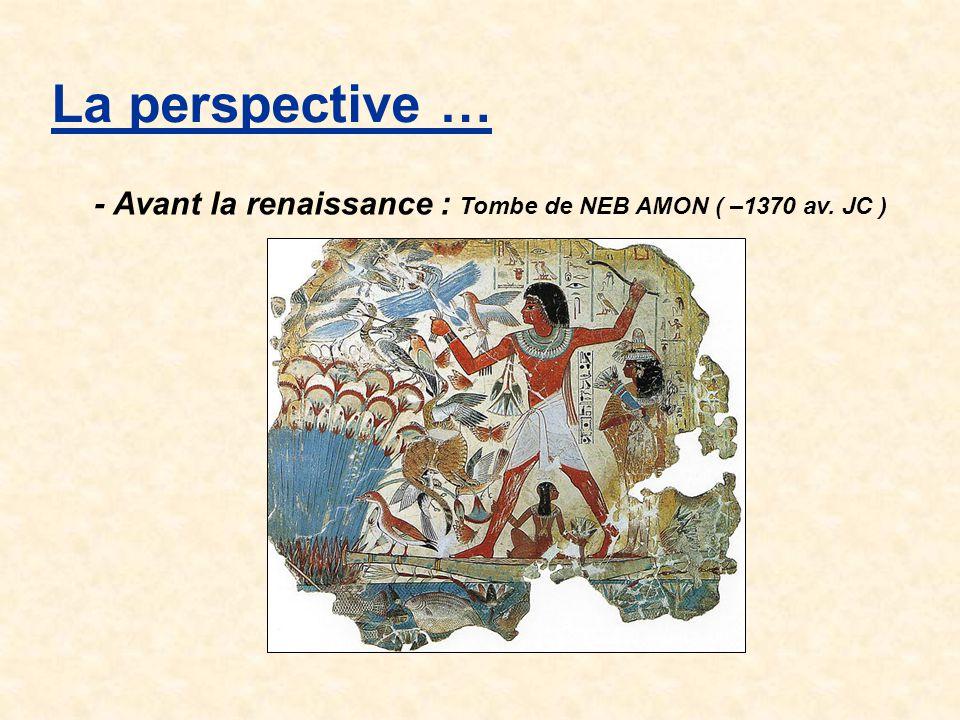 La perspective … - Avant la renaissance : Tombe de NEB AMON ( –1370 av. JC )