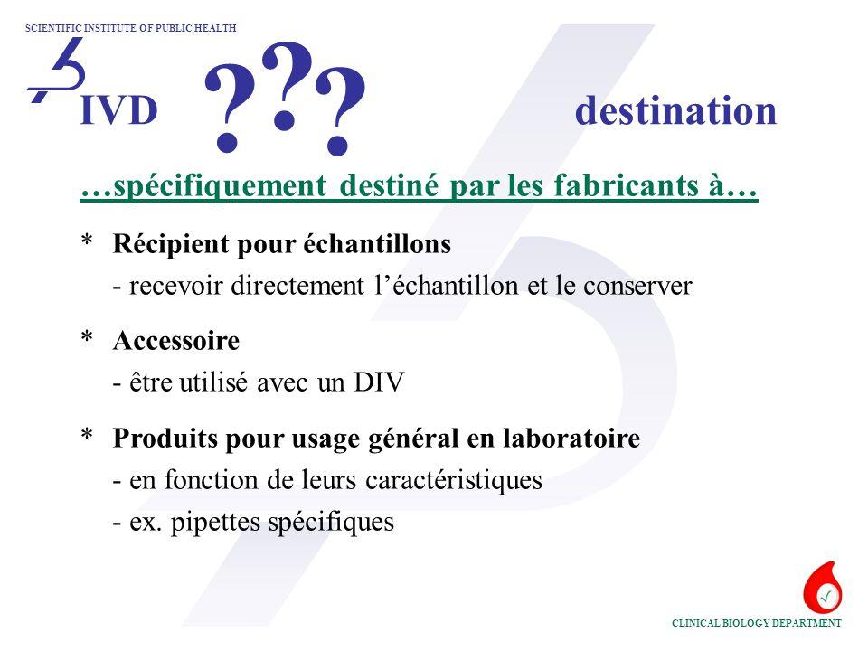 IVD destination …spécifiquement destiné par les fabricants à…