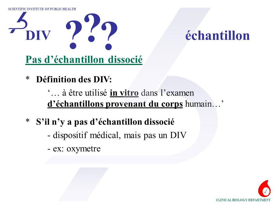 DIV échantillon Pas d'échantillon dissocié * Définition des DIV:
