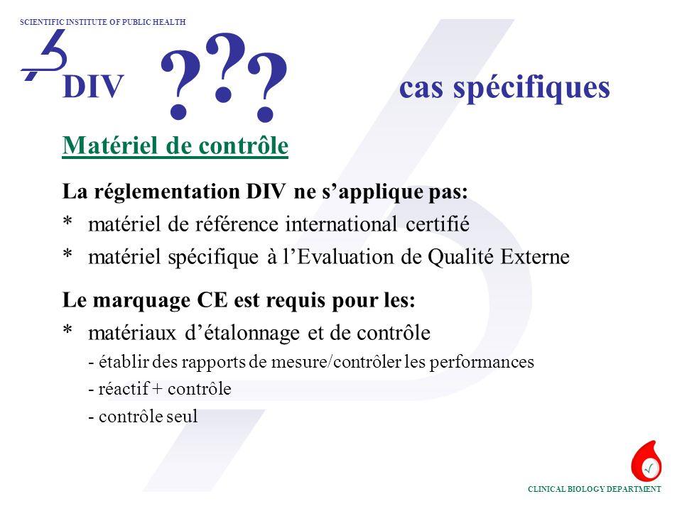 DIV cas spécifiques Matériel de contrôle