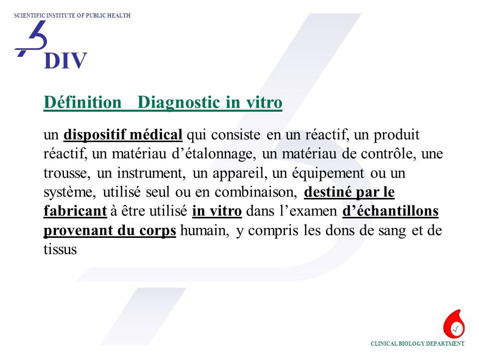 DIV Définition Diagnostic in vitro