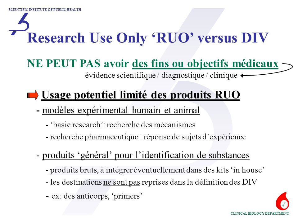 Research Use Only 'RUO' versus DIV