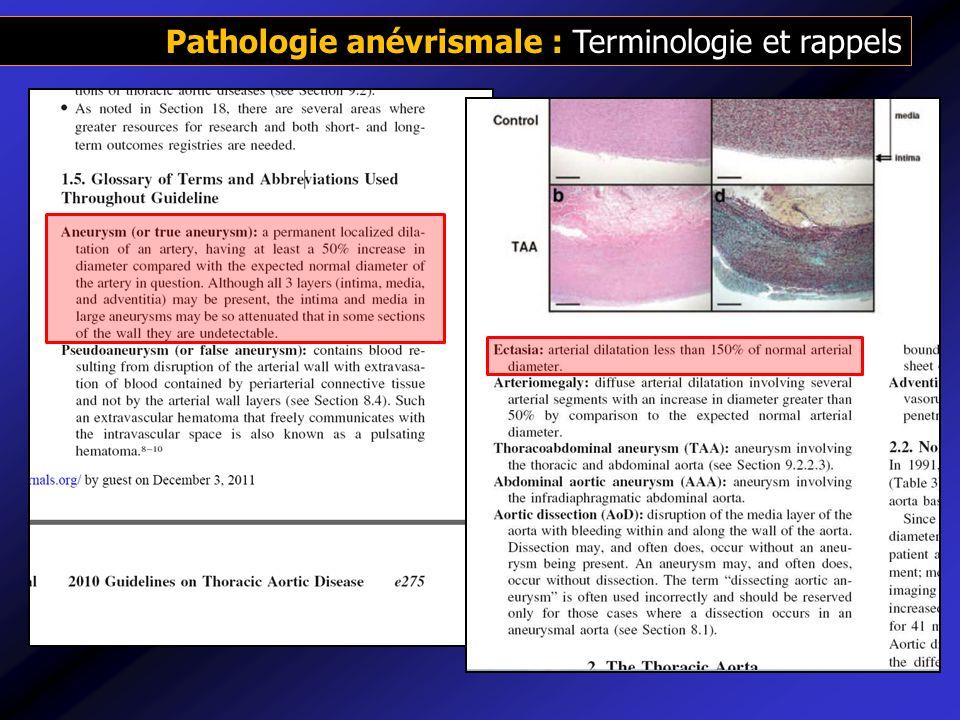 Pathologie anévrismale : Terminologie et rappels