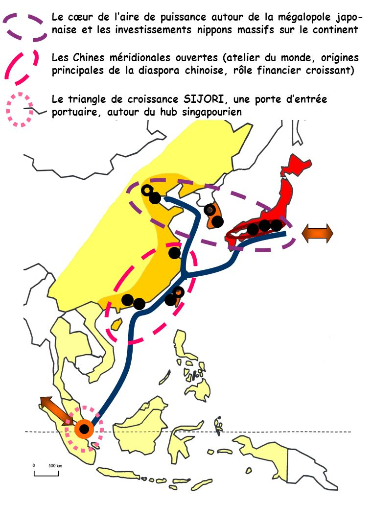 Le cœur de l'aire de puissance autour de la mégalopole japo-naise et les investissements nippons massifs sur le continent