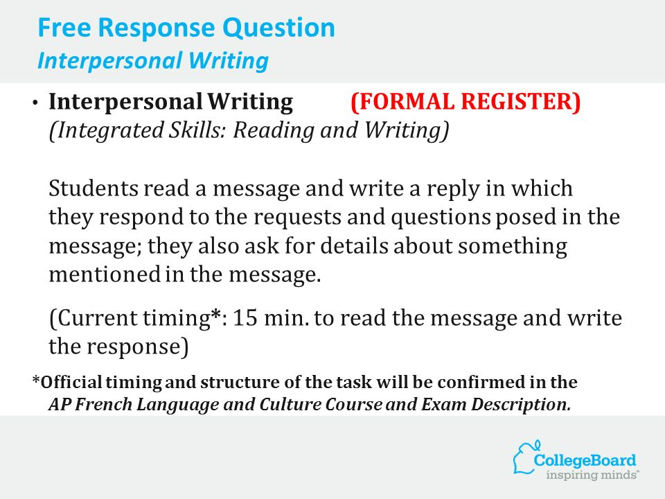 Free Response Question Interpersonal Writing