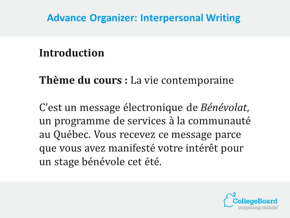 Advance Organizer: Interpersonal Writing