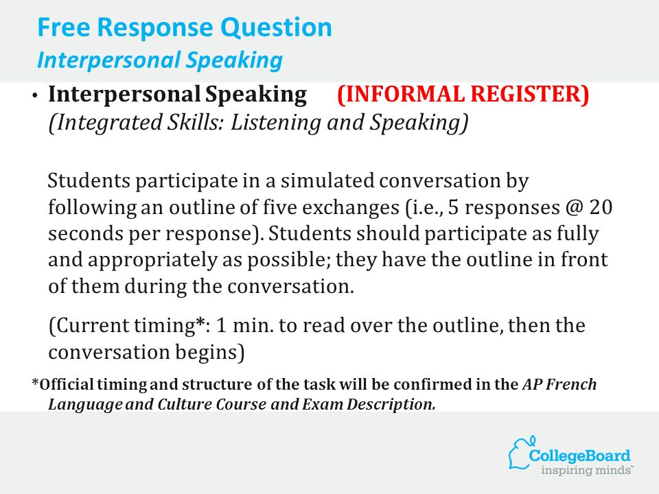 Free Response Question Interpersonal Speaking