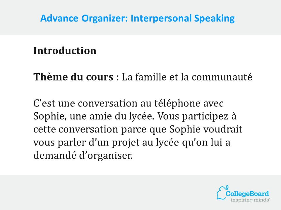 Advance Organizer: Interpersonal Speaking
