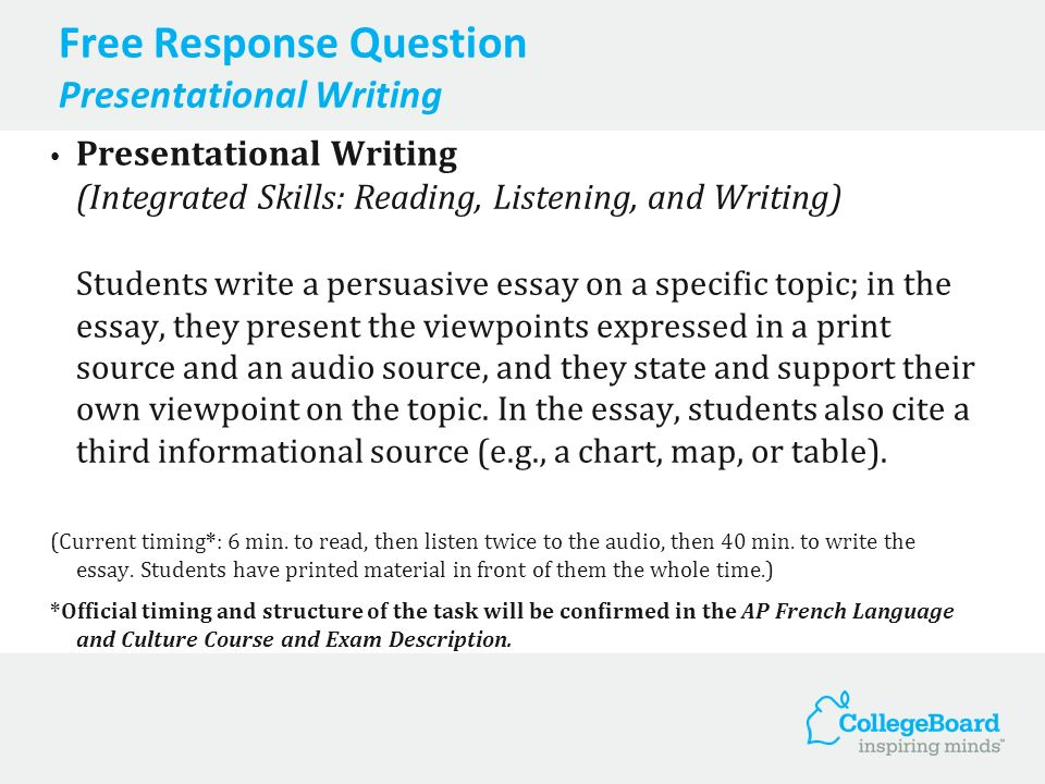 Free Response Question Presentational Writing