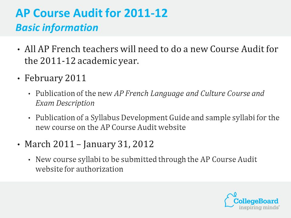 AP Course Audit for 2011-12 Basic information