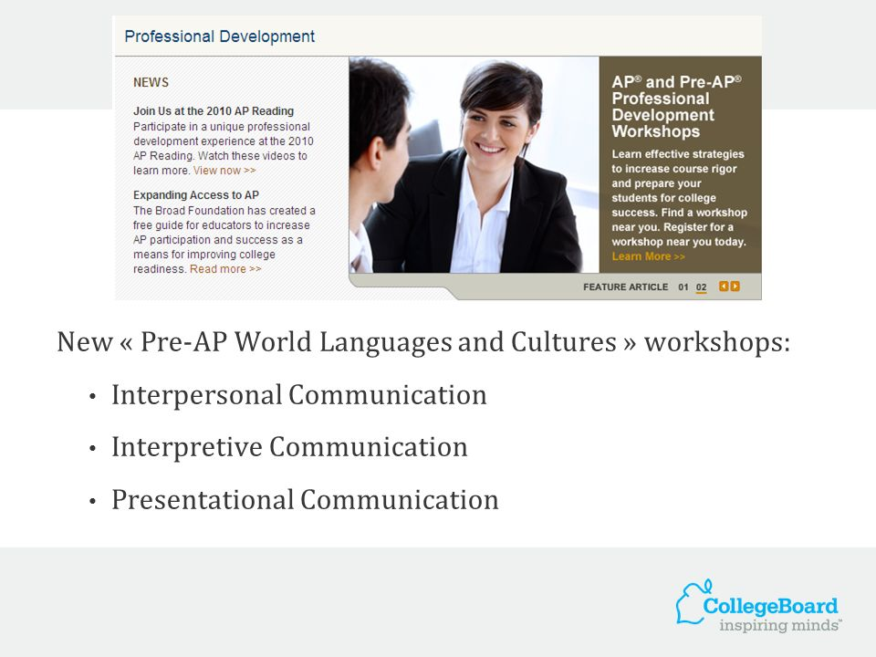 New « Pre-AP World Languages and Cultures » workshops: