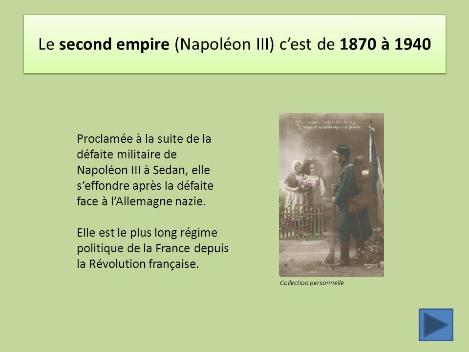 Le second empire (Napoléon III) c'est de 1870 à 1940