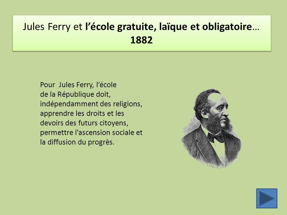 Jules Ferry et l'école gratuite, laïque et obligatoire… 1882