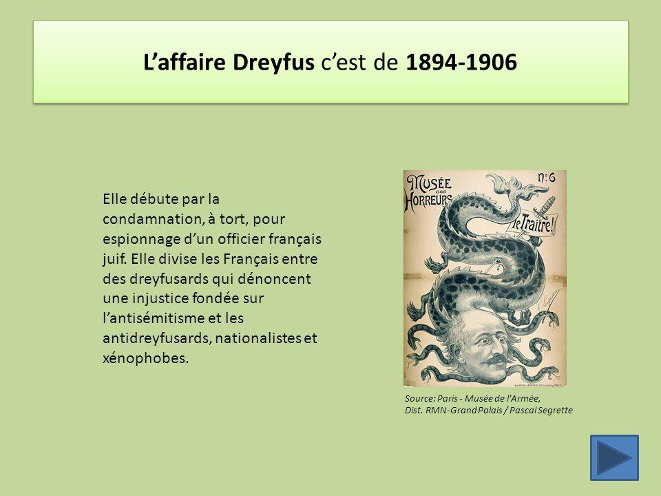 L'affaire Dreyfus c'est de 1894-1906