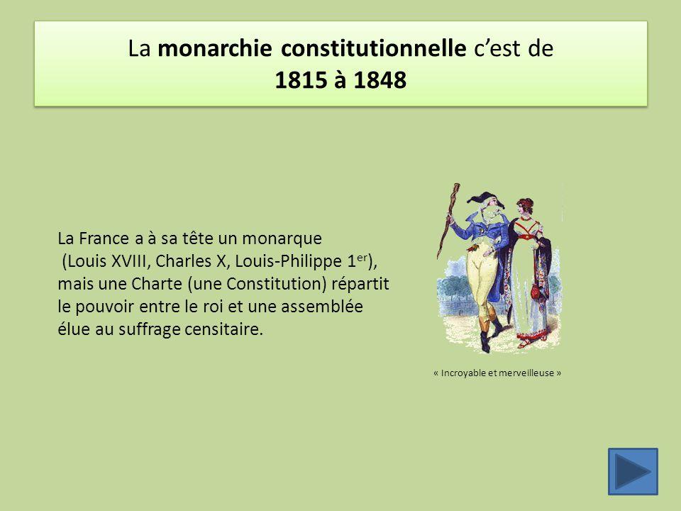 La monarchie constitutionnelle c'est de 1815 à 1848
