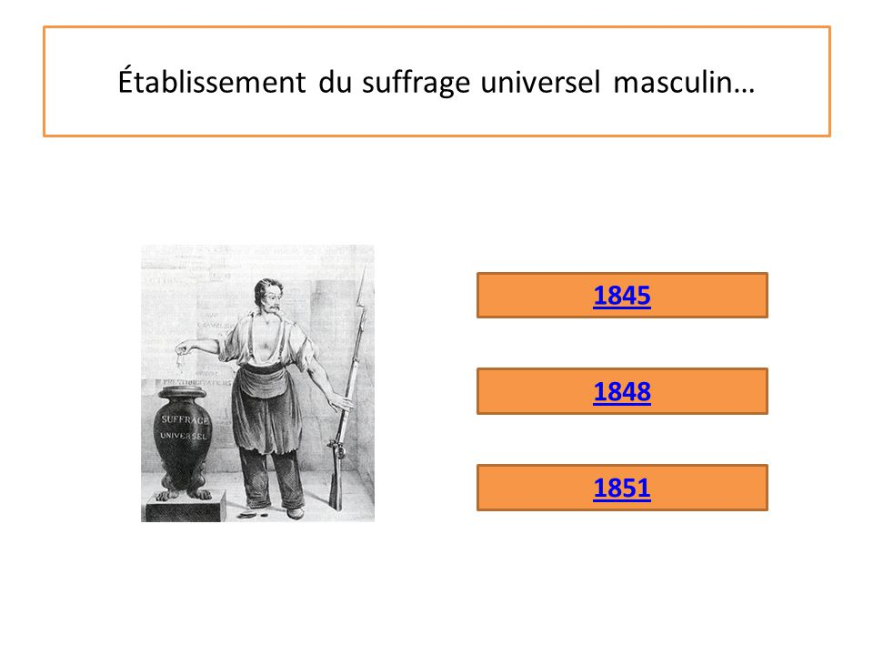 Établissement du suffrage universel masculin…