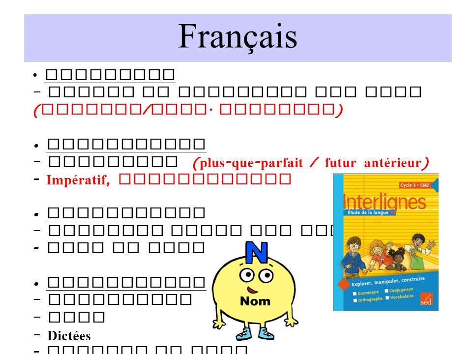 Français Grammaire. – Nature et fonctions des mots (pronoms/prop. relative) • Conjugaison. – Indicatif (plus-que-parfait / futur antérieur)