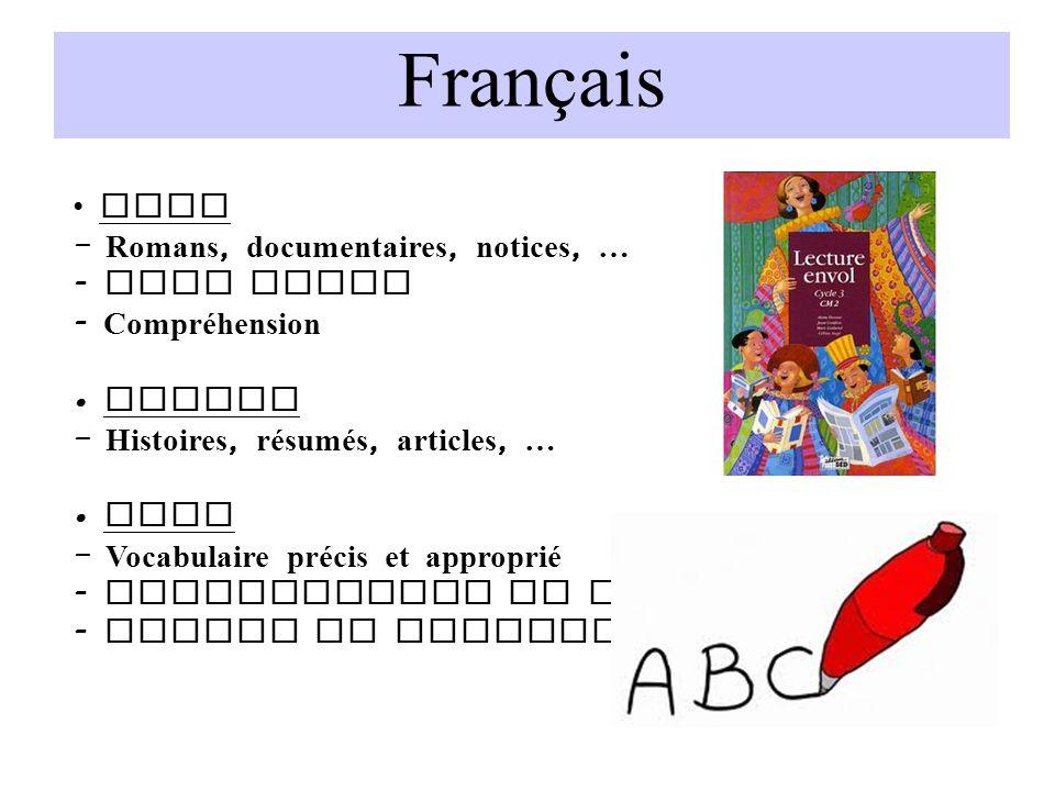 Français Lire – Romans, documentaires, notices, … Voix haute