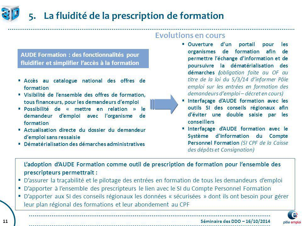 La fluidité de la prescription de formation