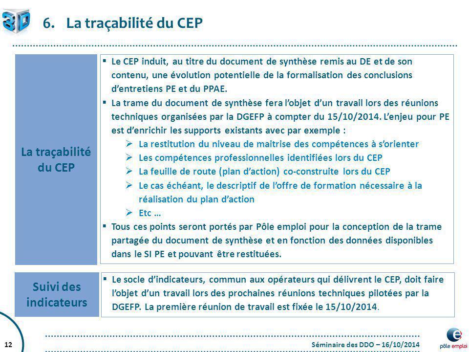 La traçabilité du CEP La traçabilité du CEP Suivi des indicateurs