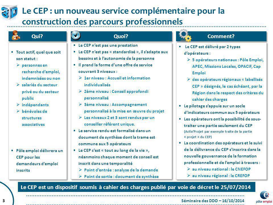 Le CEP : un nouveau service complémentaire pour la construction des parcours professionnels