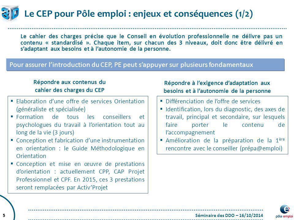 Répondre aux contenus du cahier des charges du CEP