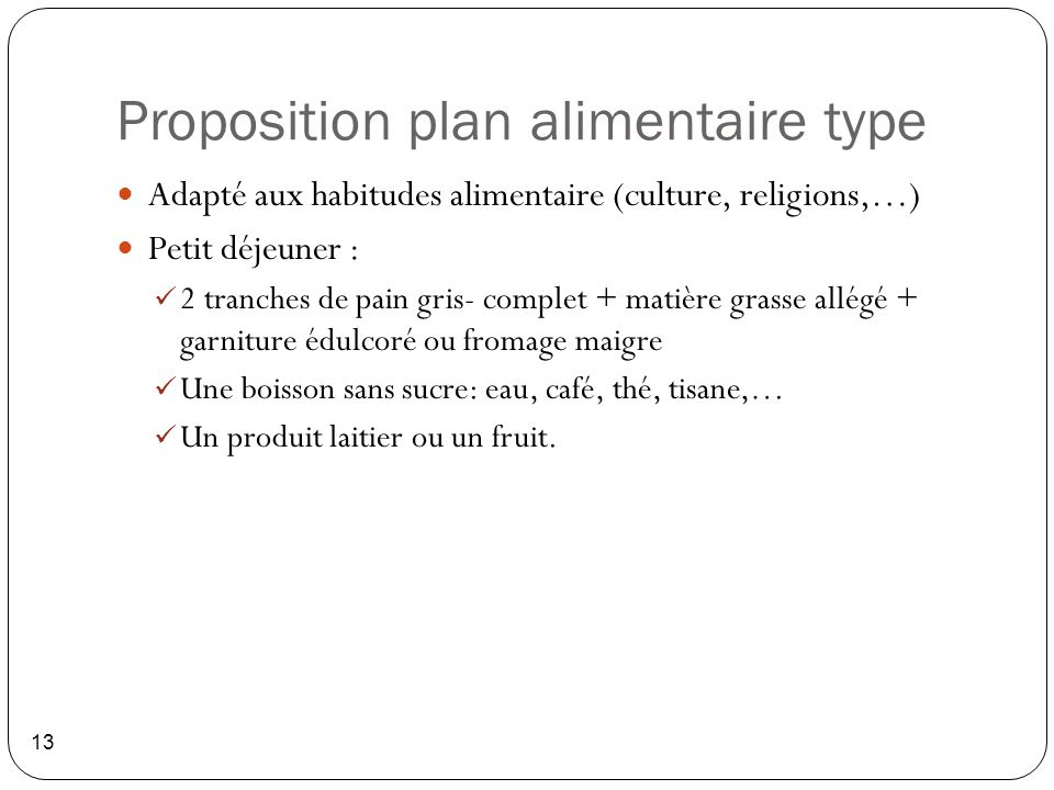 Proposition plan alimentaire type