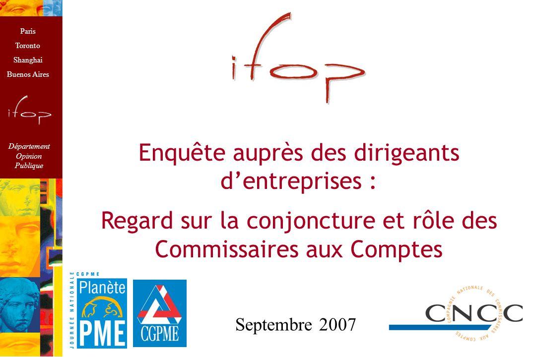 Méthodologie Enquête réalisée à l'occasion de Planète PME à l'initiative de la CGPME et des Commissaires aux Comptes.