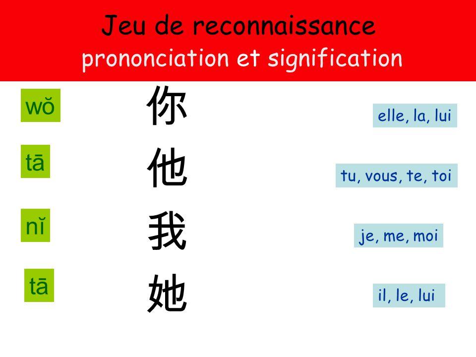 Jeu de reconnaissance prononciation et signification