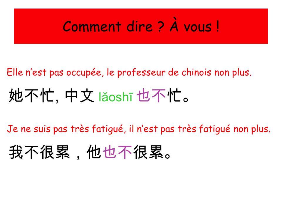 她不忙, 中文 lăoshī 也不忙。 我不很累,他也不很累。 Comment dire À vous !