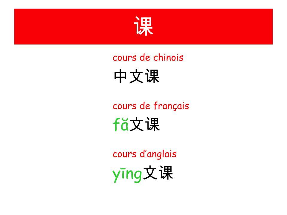 课 cours de chinois 中文课 cours de français fă文课 cours d'anglais yīng文课