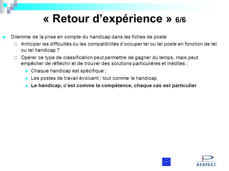 « Retour d'expérience » 6/6