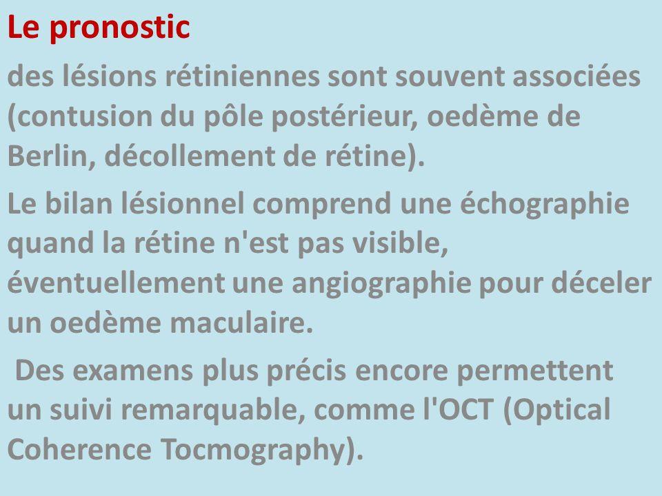 Le pronostic des lésions rétiniennes sont souvent associées (contusion du pôle postérieur, oedème de Berlin, décollement de rétine).