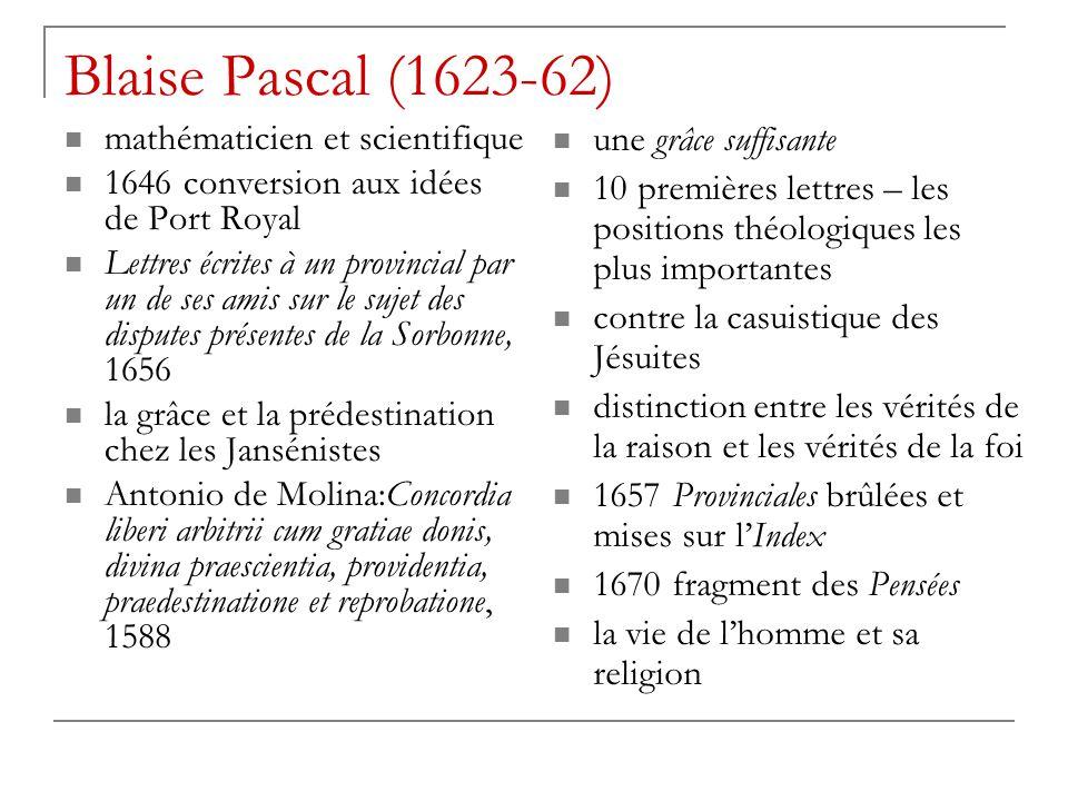 Blaise Pascal (1623-62) mathématicien et scientifique
