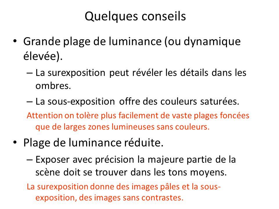 Quelques conseils Grande plage de luminance (ou dynamique élevée).