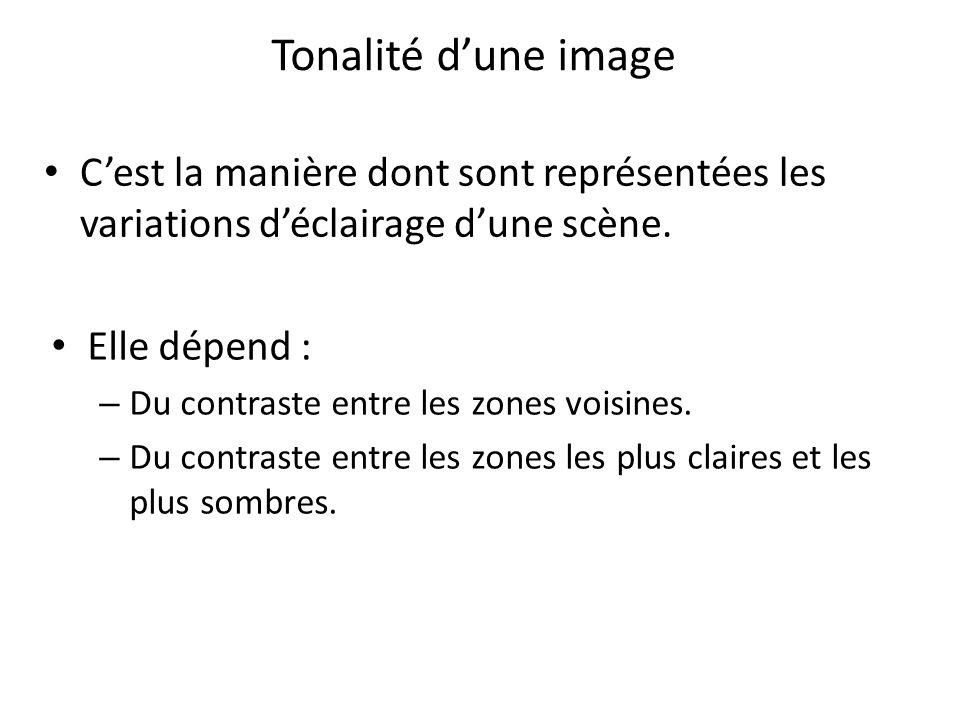 Tonalité d'une image C'est la manière dont sont représentées les variations d'éclairage d'une scène.