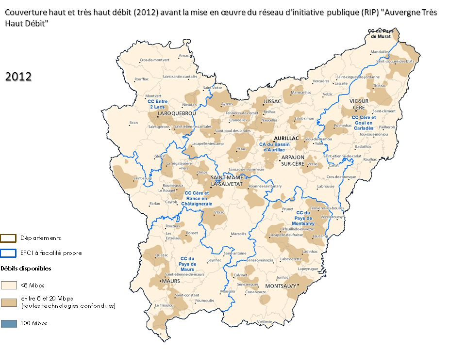 Couverture haut et très haut débit (2012) avant la mise en œuvre du réseau d initiative publique (RIP) Auvergne Très Haut Débit