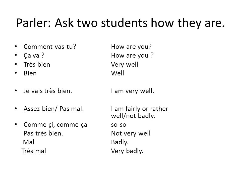 Parler: Ask two students how they are.