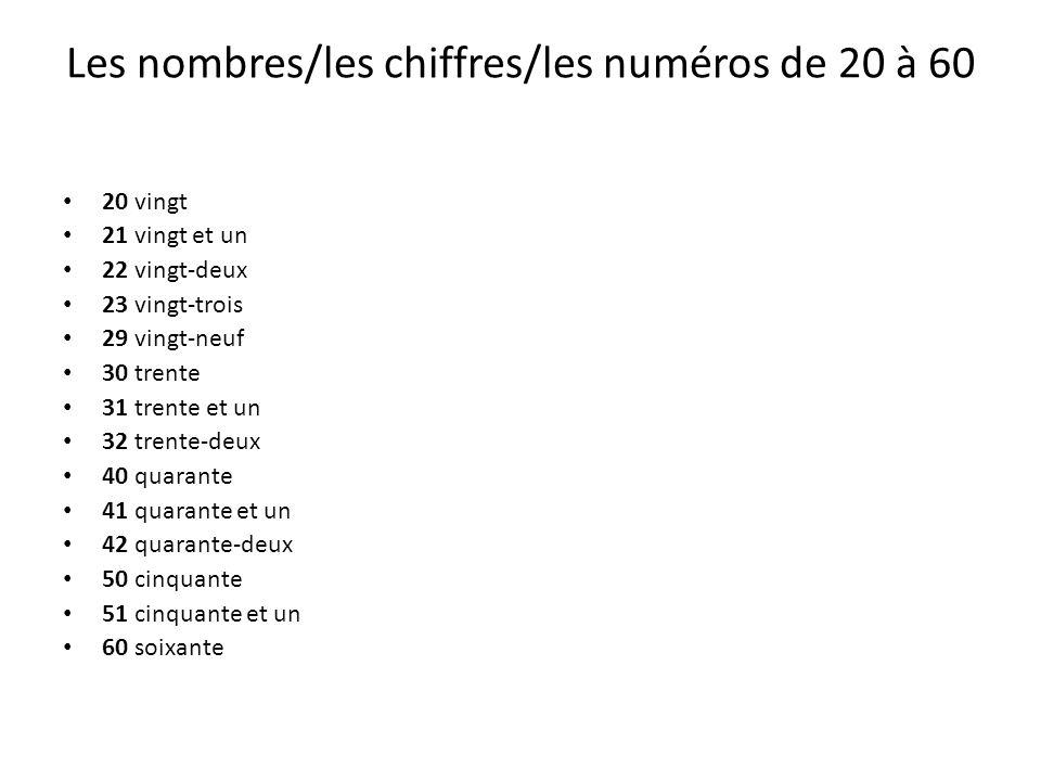 Les nombres/les chiffres/les numéros de 20 à 60