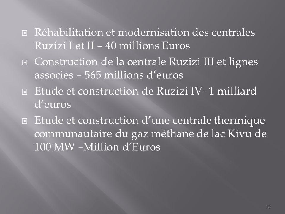 Réhabilitation et modernisation des centrales Ruzizi I et II – 40 millions Euros