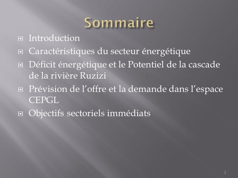 Sommaire Introduction Caractéristiques du secteur énergétique