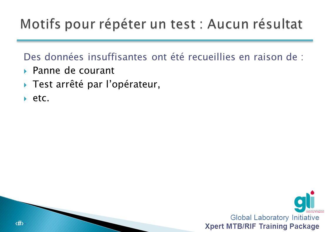 Motifs pour répéter un test : Aucun résultat