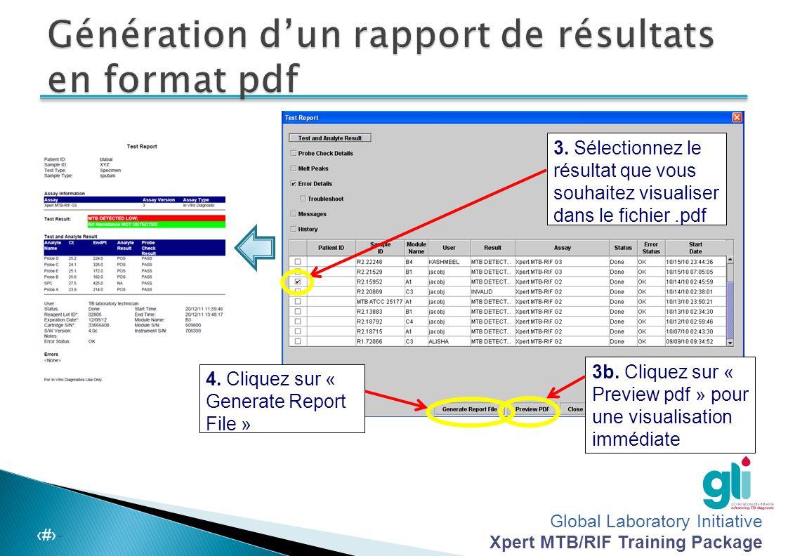 Génération d'un rapport de résultats en format pdf